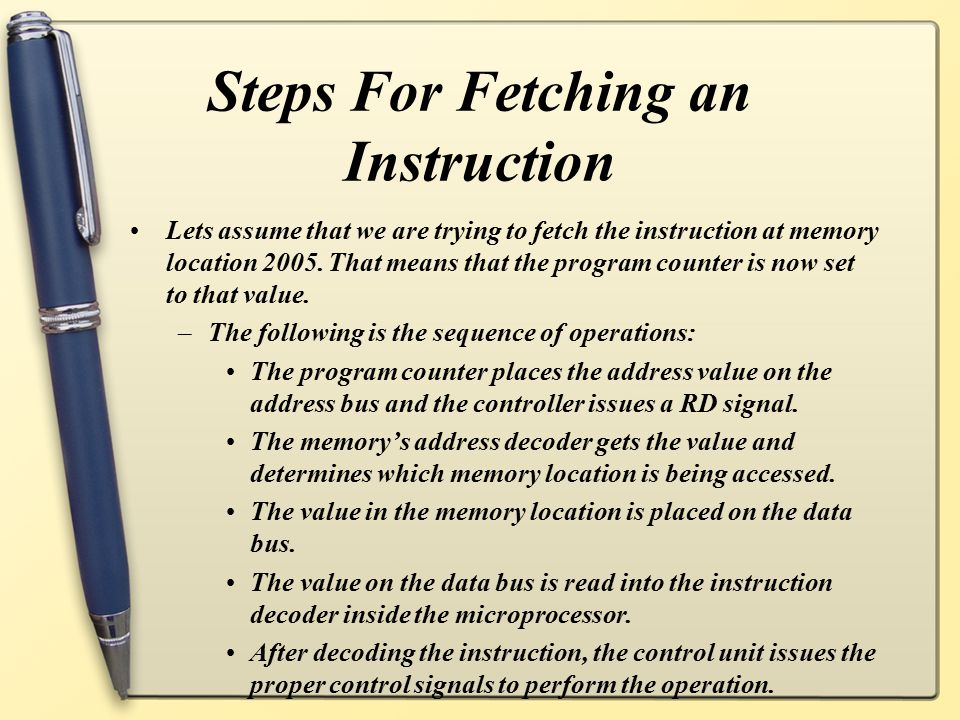 Steps For Fetching an Instruction