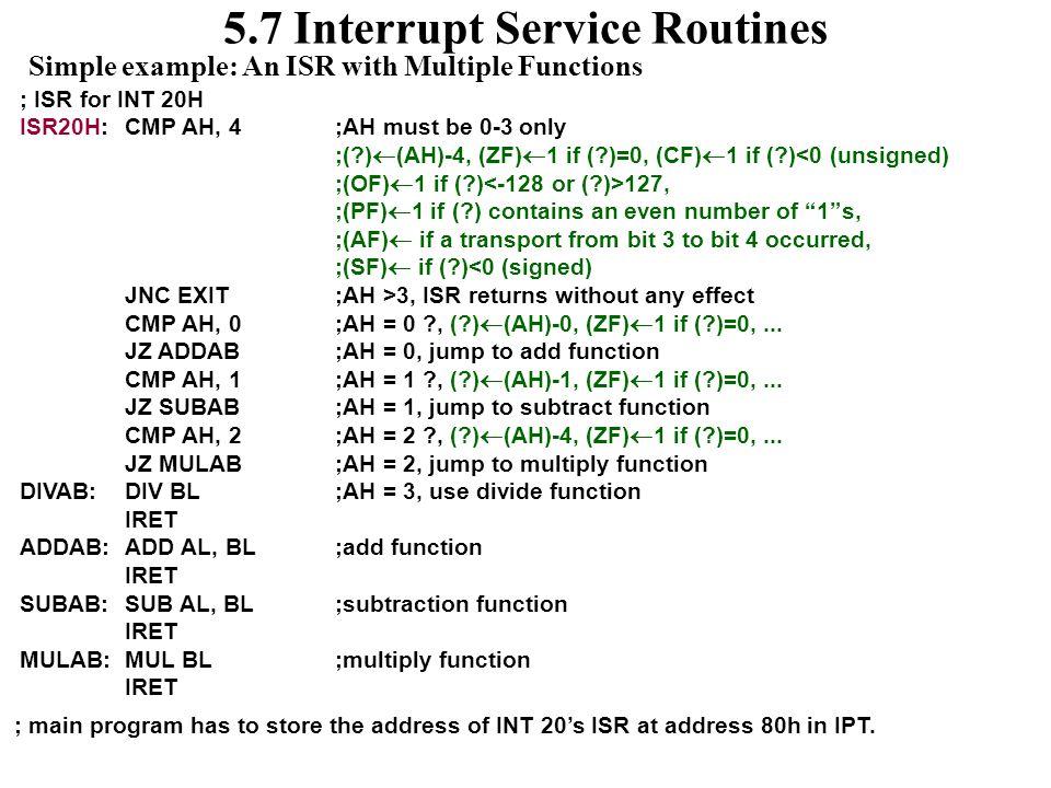 5.7 Interrupt Service Routines