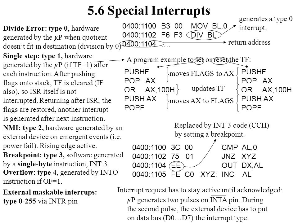 5.6 Special Interrupts generates a type 0 interrupt.