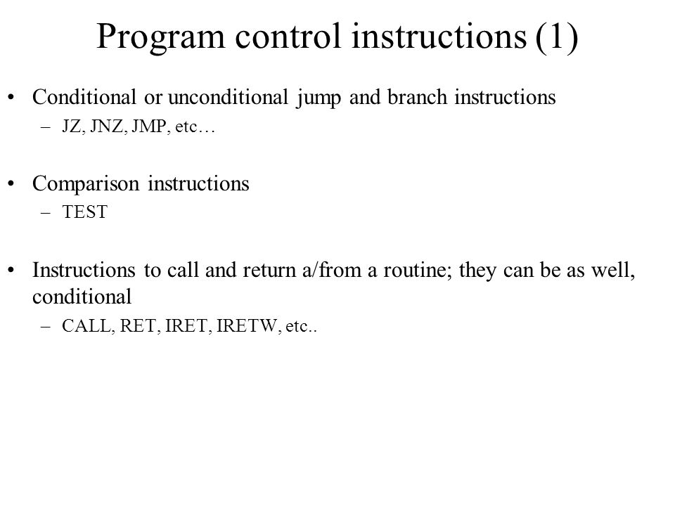 Program control instructions (1)