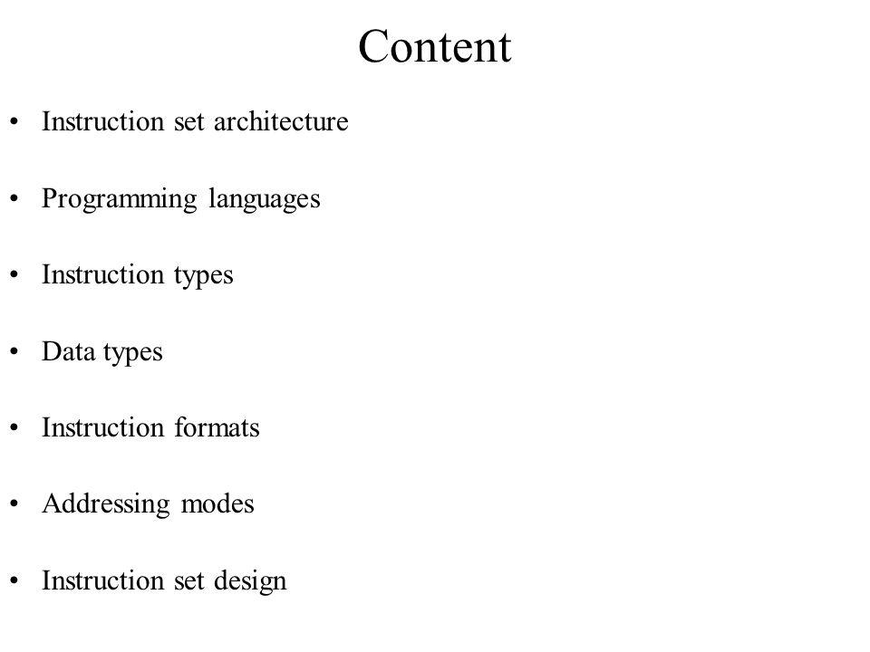 Content Instruction set architecture Programming languages