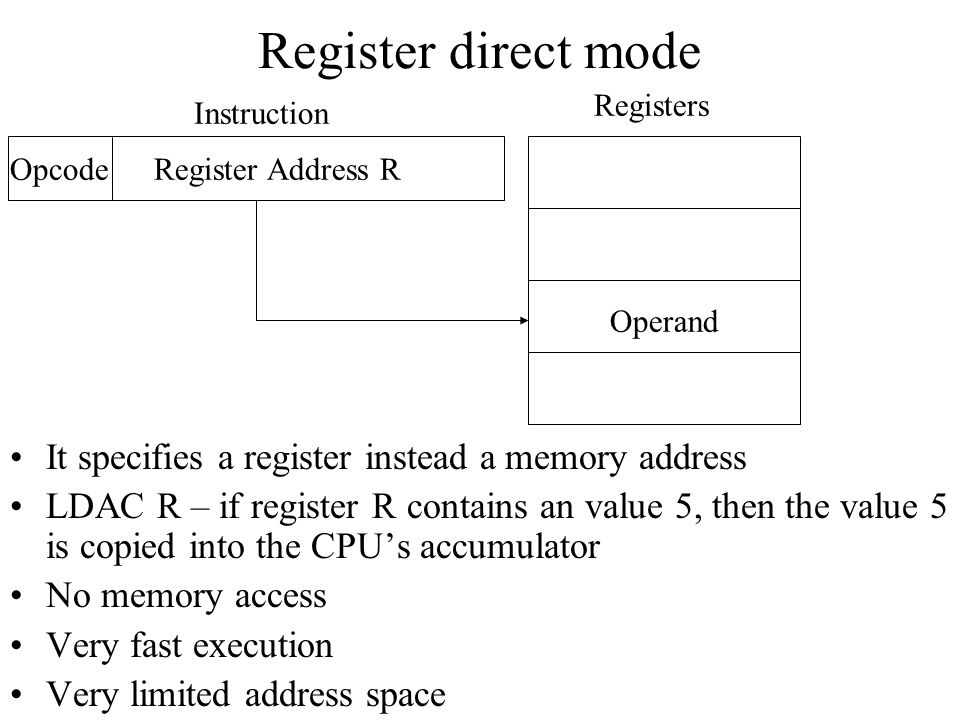 Register direct mode It specifies a register instead a memory address