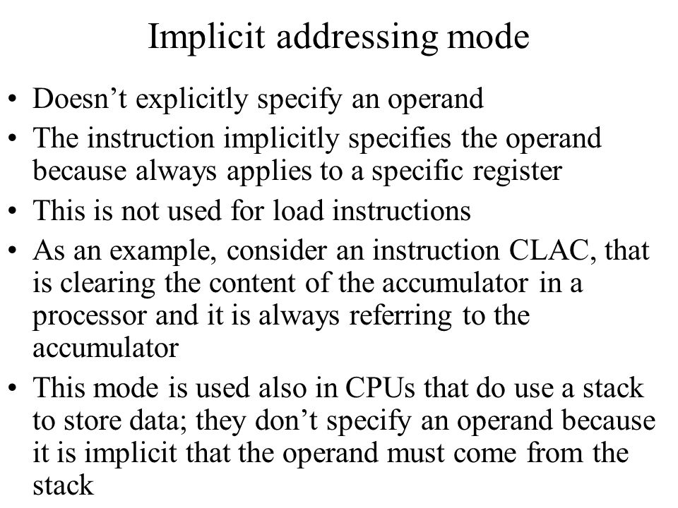 Implicit addressing mode