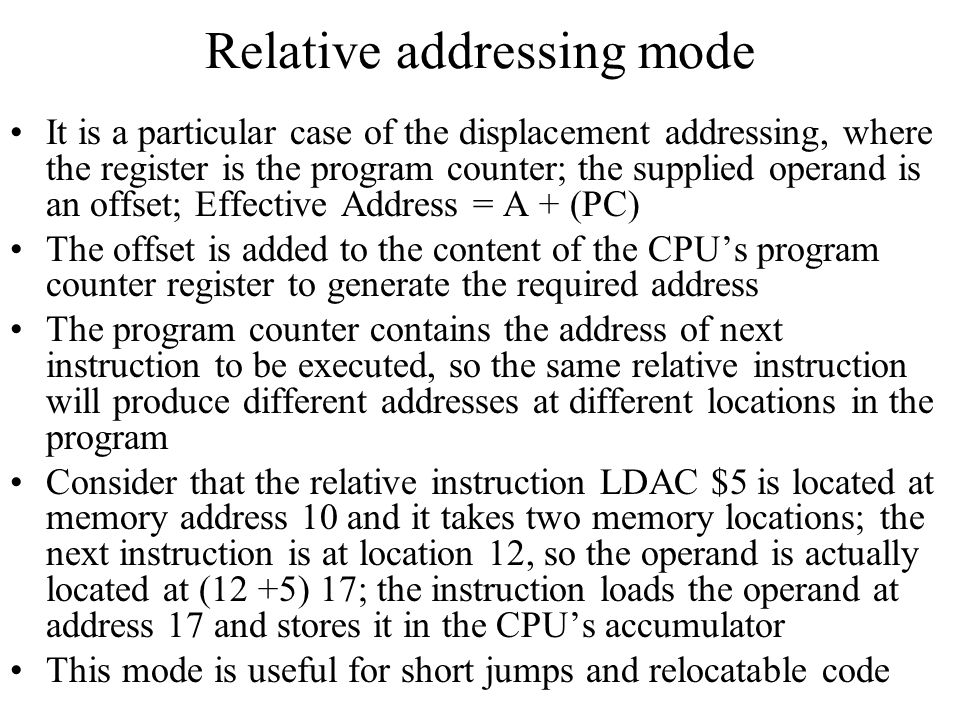 Relative addressing mode