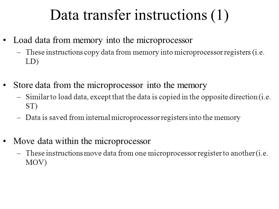 Data transfer instructions (1)