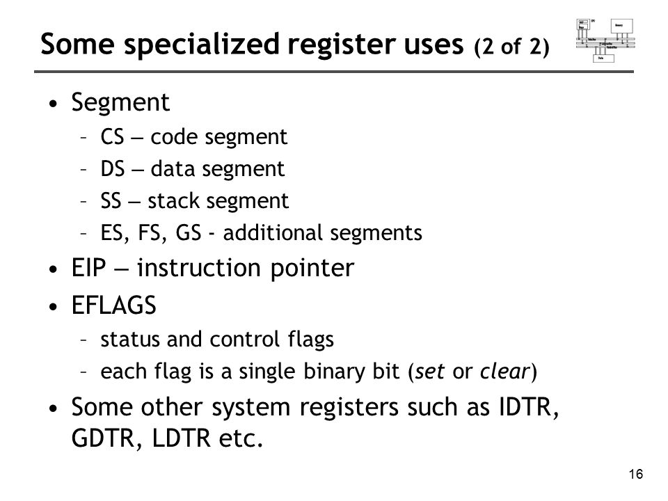 Some specialized register uses (2 of 2)