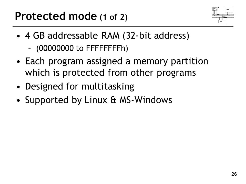 Protected mode (1 of 2) 4 GB addressable RAM (32-bit address)