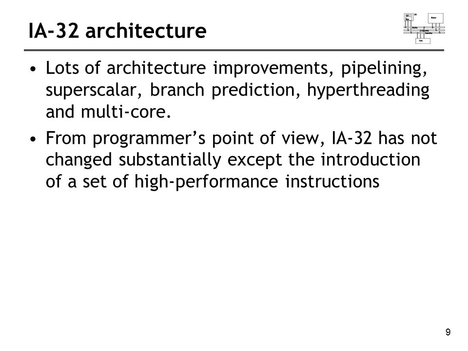 IA-32 architecture Lots of architecture improvements, pipelining, superscalar, branch prediction, hyperthreading and multi-core.