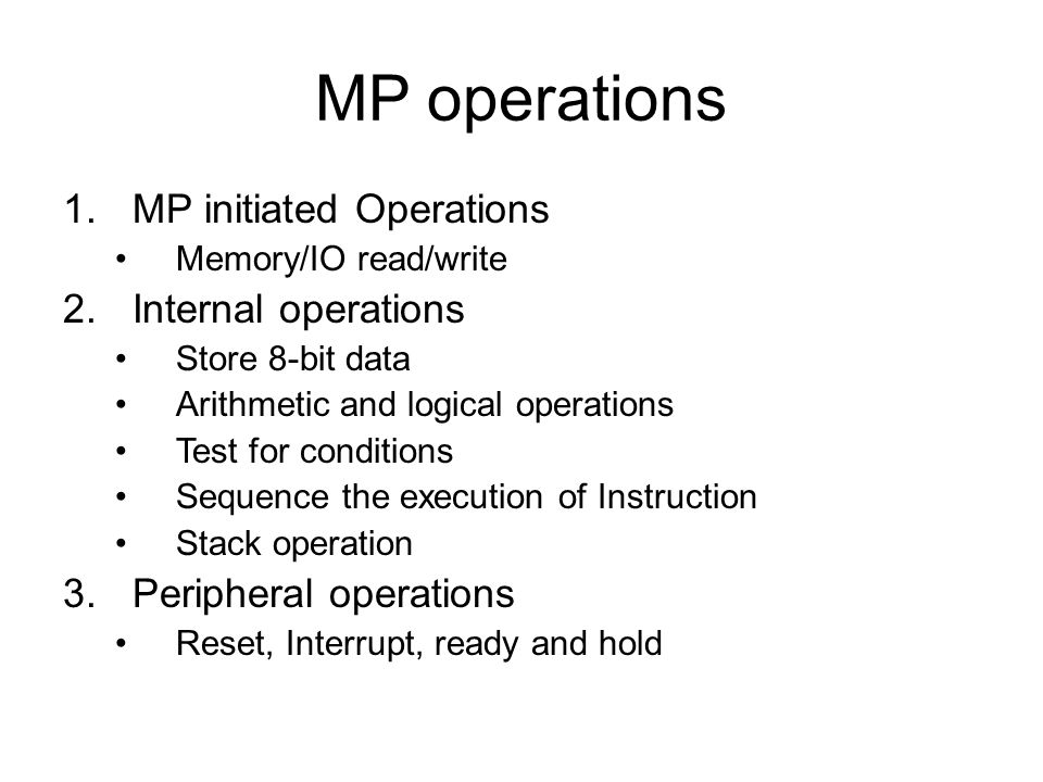 MP operations MP initiated Operations Internal operations