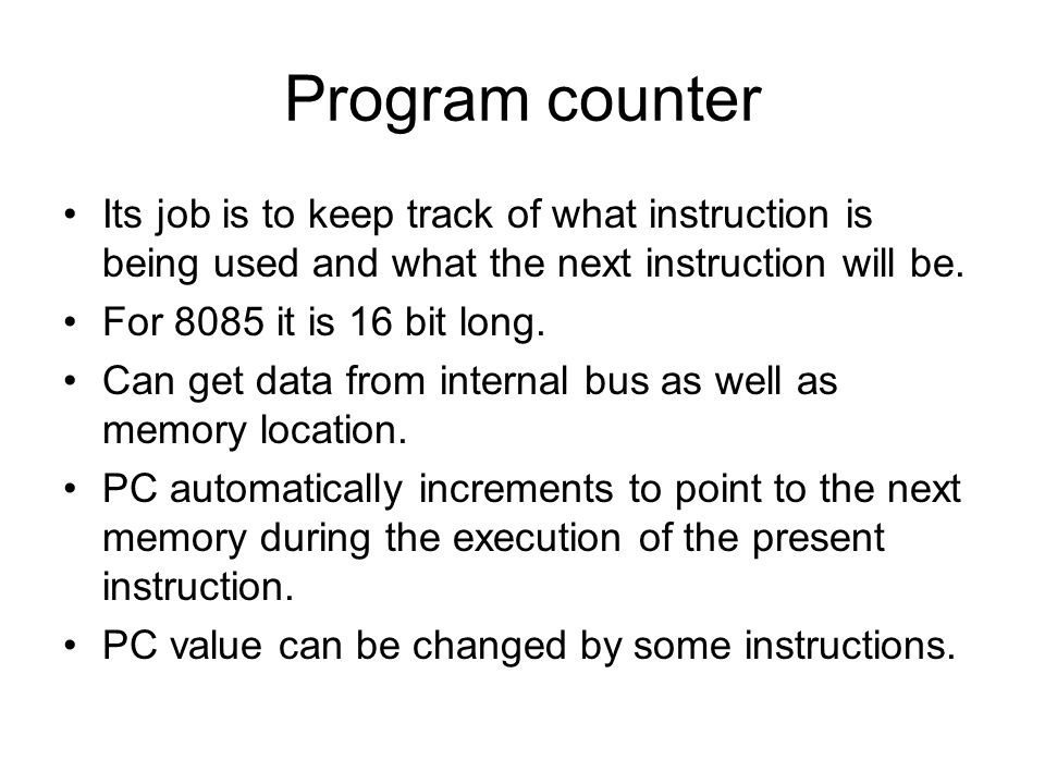 Program counter Its job is to keep track of what instruction is being used and what the next instruction will be.