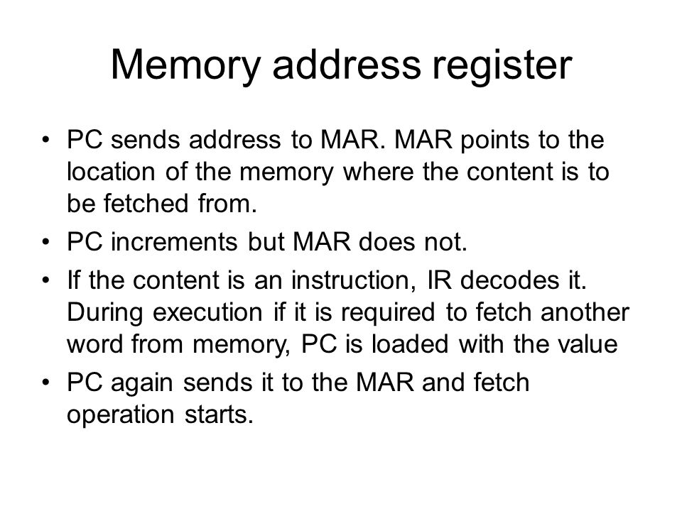 Memory address register