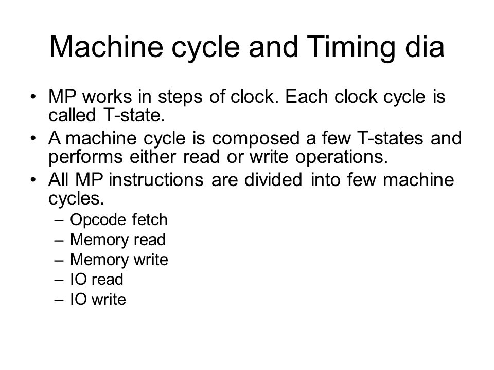 Machine cycle and Timing dia