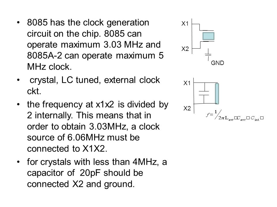 crystal, LC tuned, external clock ckt.