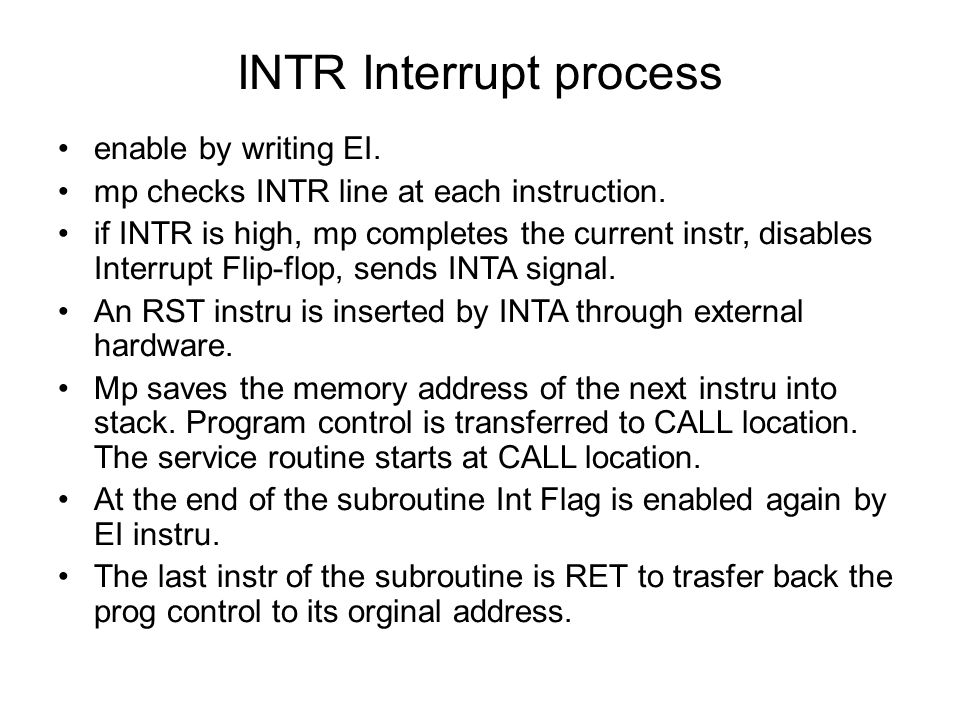 INTR Interrupt process