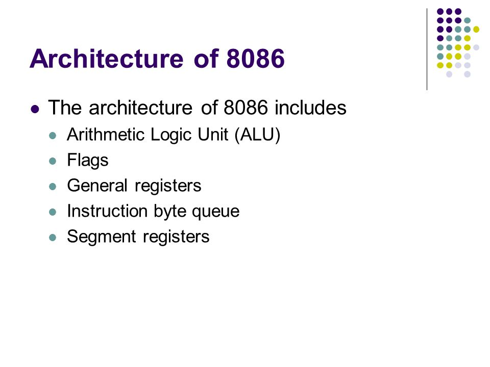 Architecture of 8086 The architecture of 8086 includes