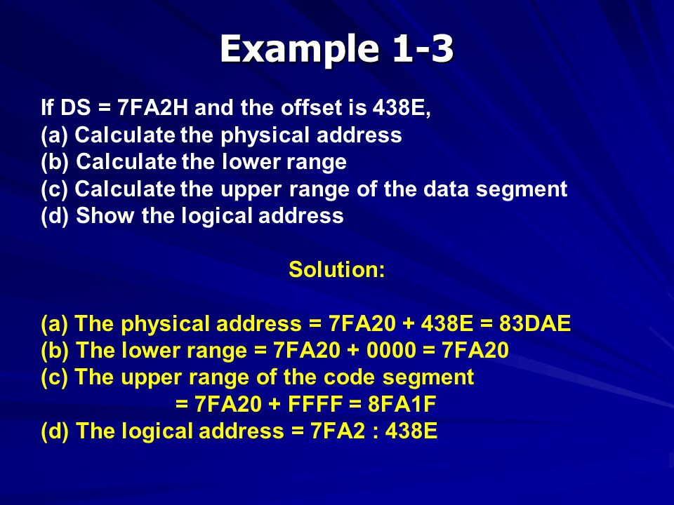 Example 1-3 If DS = 7FA2H and the offset is 438E,