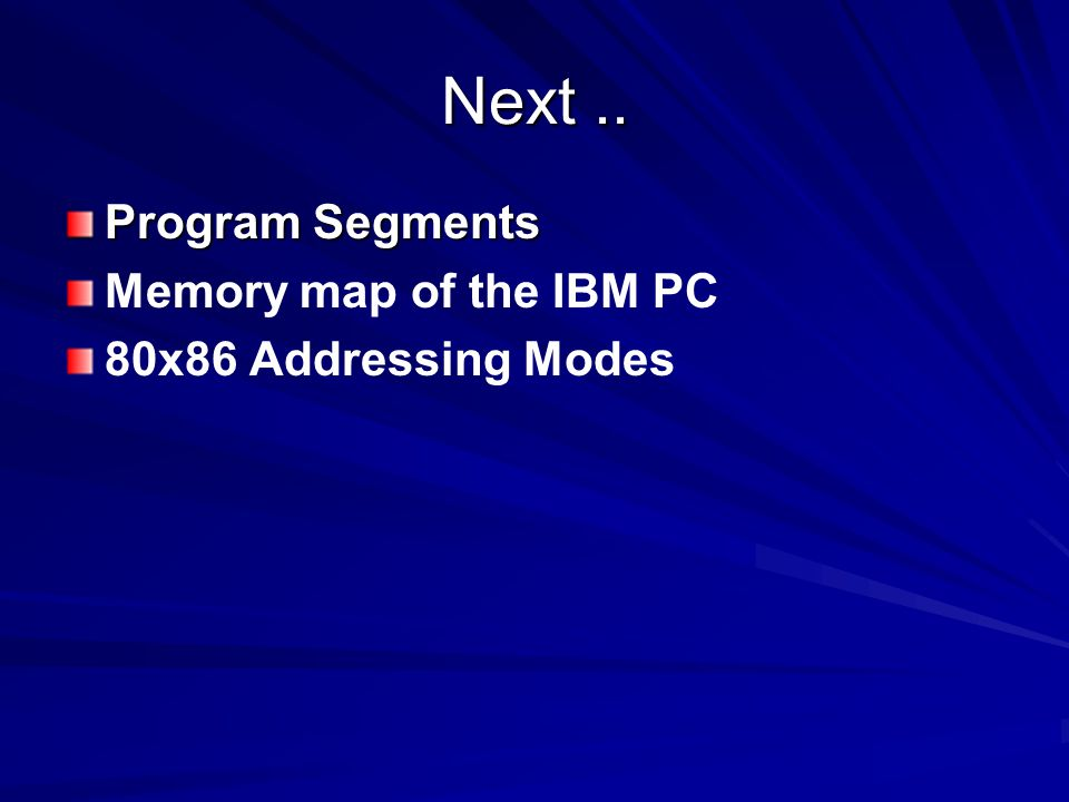 Next .. Program Segments Memory map of the IBM PC