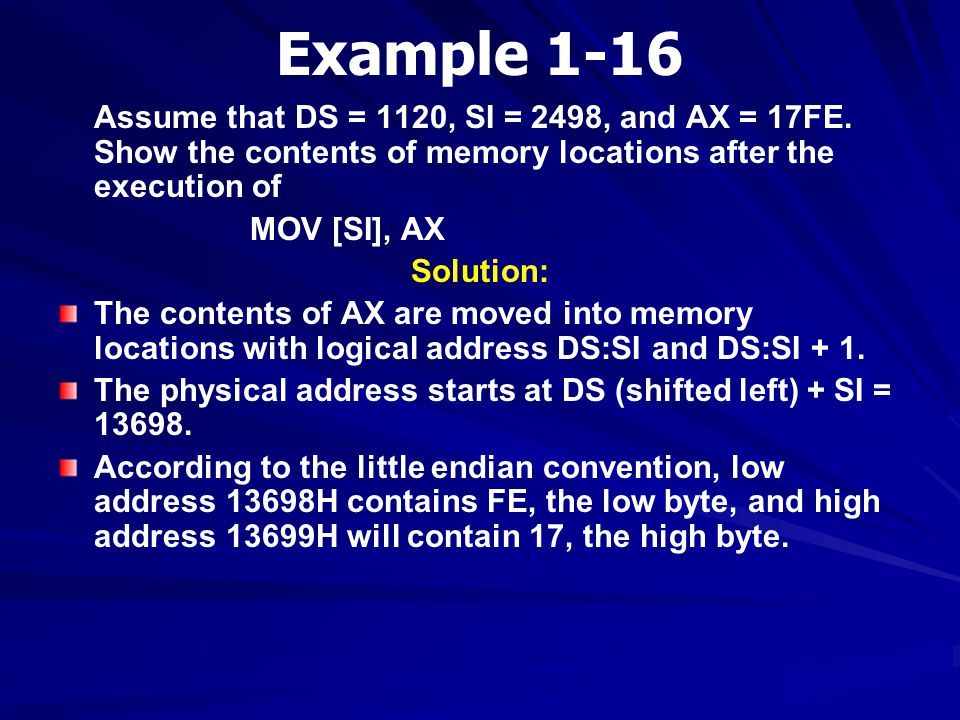 Example 1-16 Assume that DS = 1120, SI = 2498, and AX = 17FE. Show the contents of memory locations after the execution of.