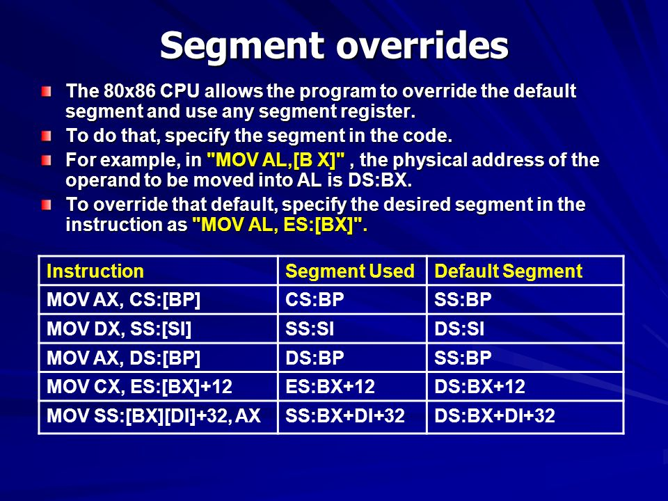 Segment overrides The 80x86 CPU allows the program to override the default segment and use any segment register.