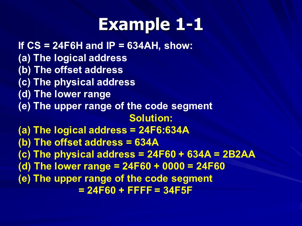 Example 1-1 If CS = 24F6H and IP = 634AH, show: