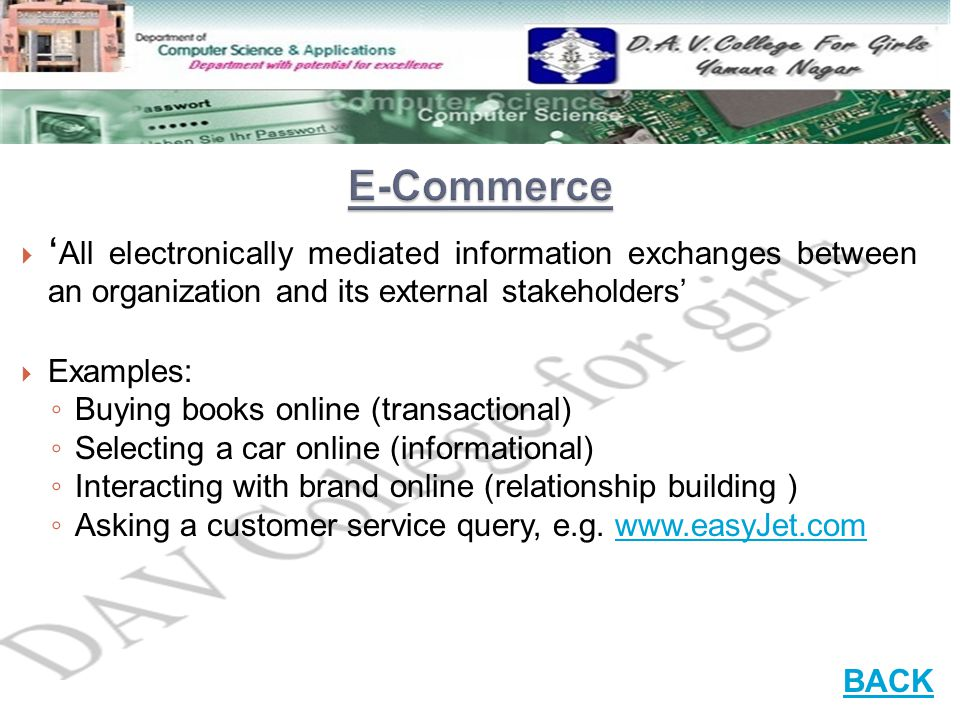 E-Commerce 'All electronically mediated information exchanges between an organization and its external stakeholders'