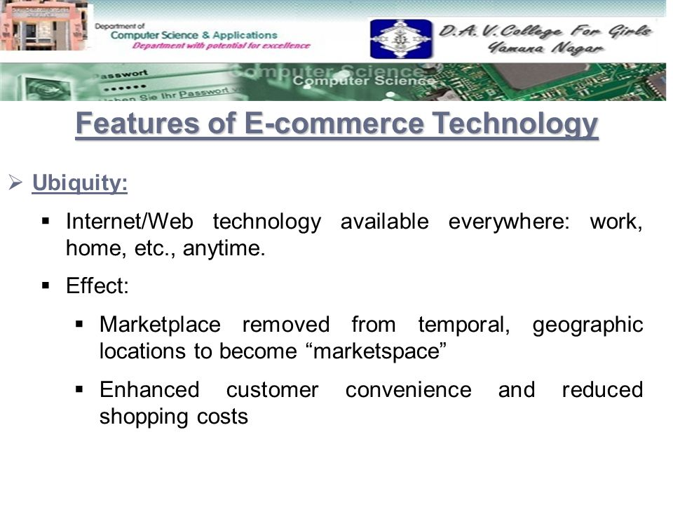 Features of E-commerce Technology