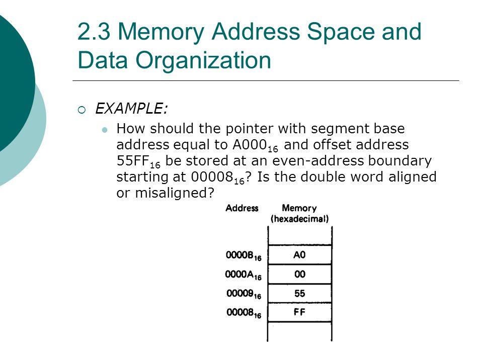 2.3 Memory Address Space and Data Organization