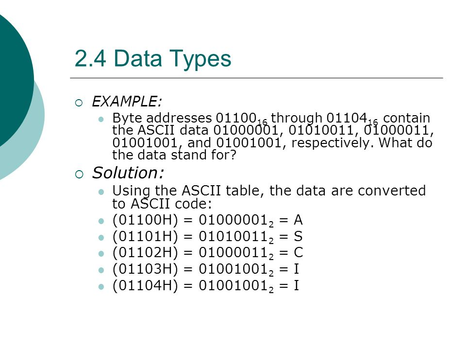 2.4 Data Types Solution: EXAMPLE: