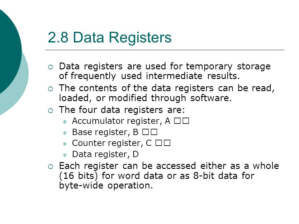 2.8 Data Registers Data registers are used for temporary storage of frequently used intermediate results.