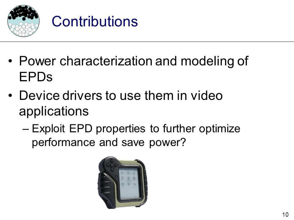 Contributions Power characterization and modeling of EPDs