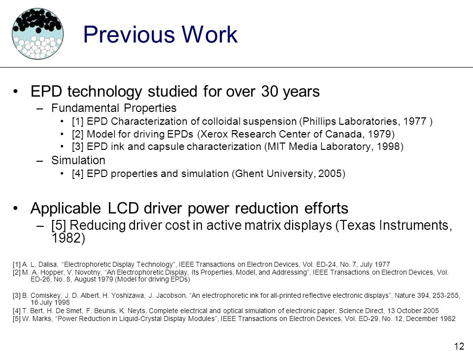 Previous Work EPD technology studied for over 30 years