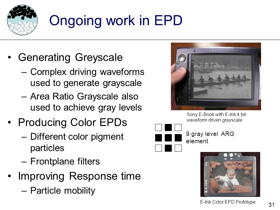 Ongoing work in EPD Generating Greyscale Producing Color EPDs