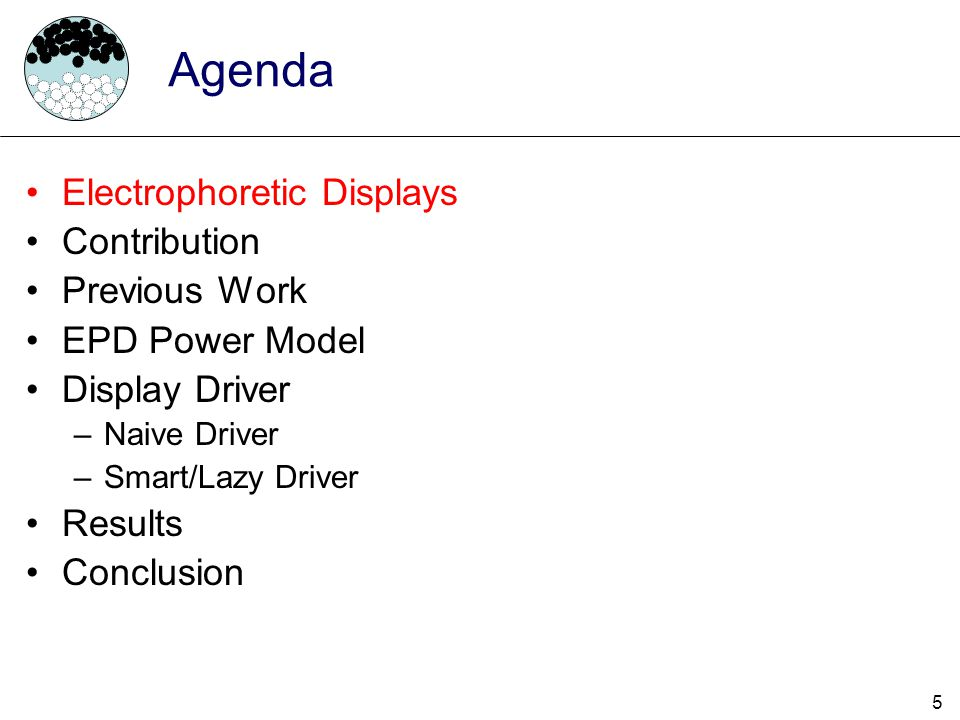 Agenda Electrophoretic Displays Contribution Previous Work