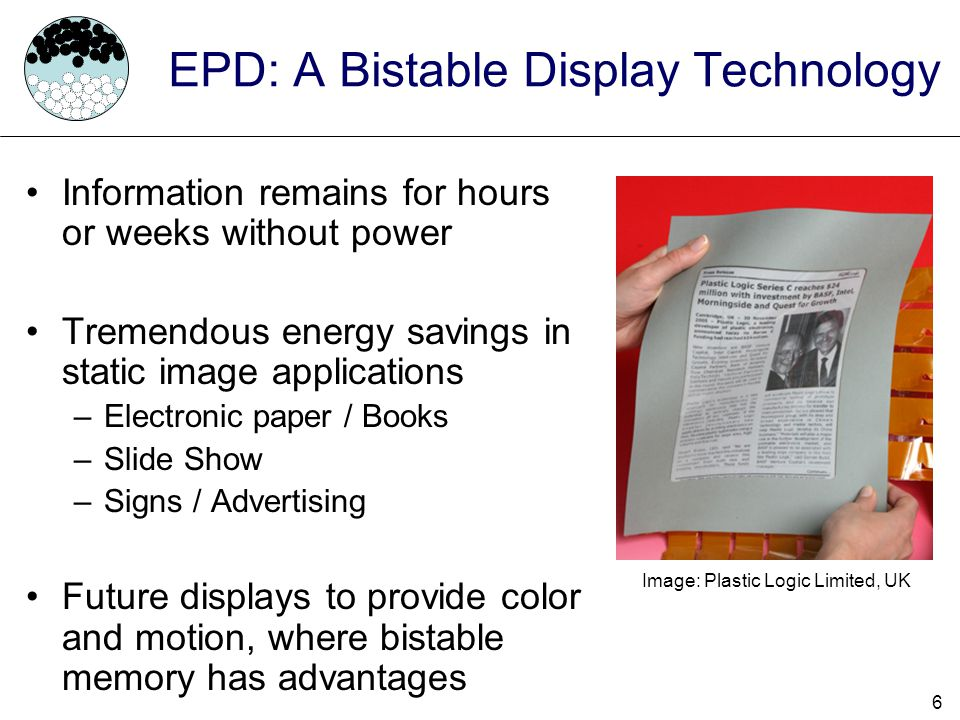 EPD: A Bistable Display Technology
