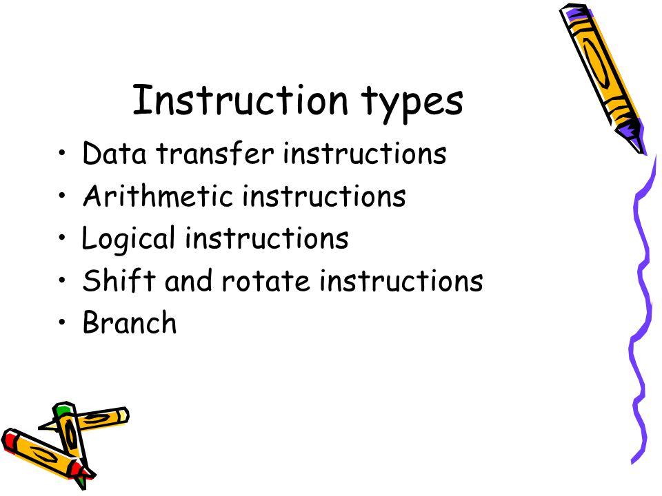 Instruction types Data transfer instructions Arithmetic instructions