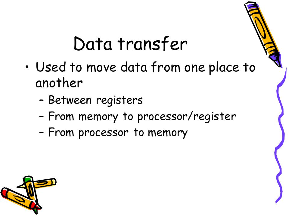 Data transfer Used to move data from one place to another