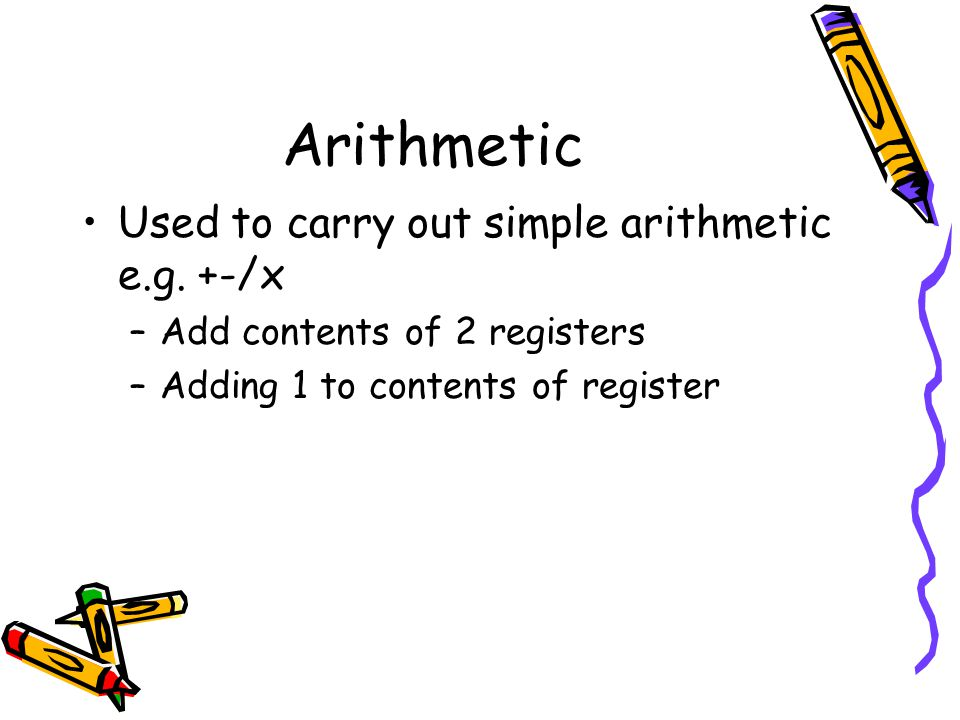 Arithmetic Used to carry out simple arithmetic e.g. +-/x