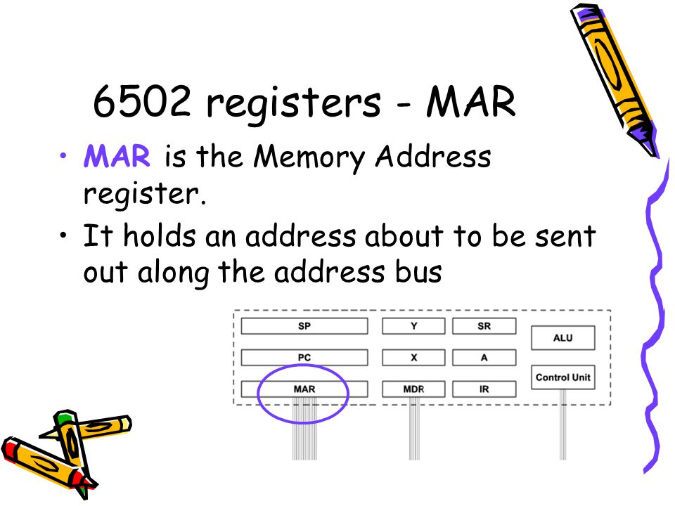 6502 registers - MAR MAR is the Memory Address register.