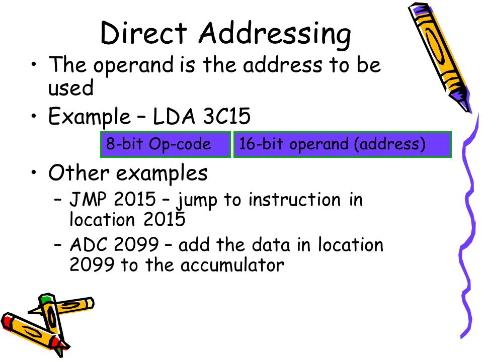 Direct Addressing The operand is the address to be used