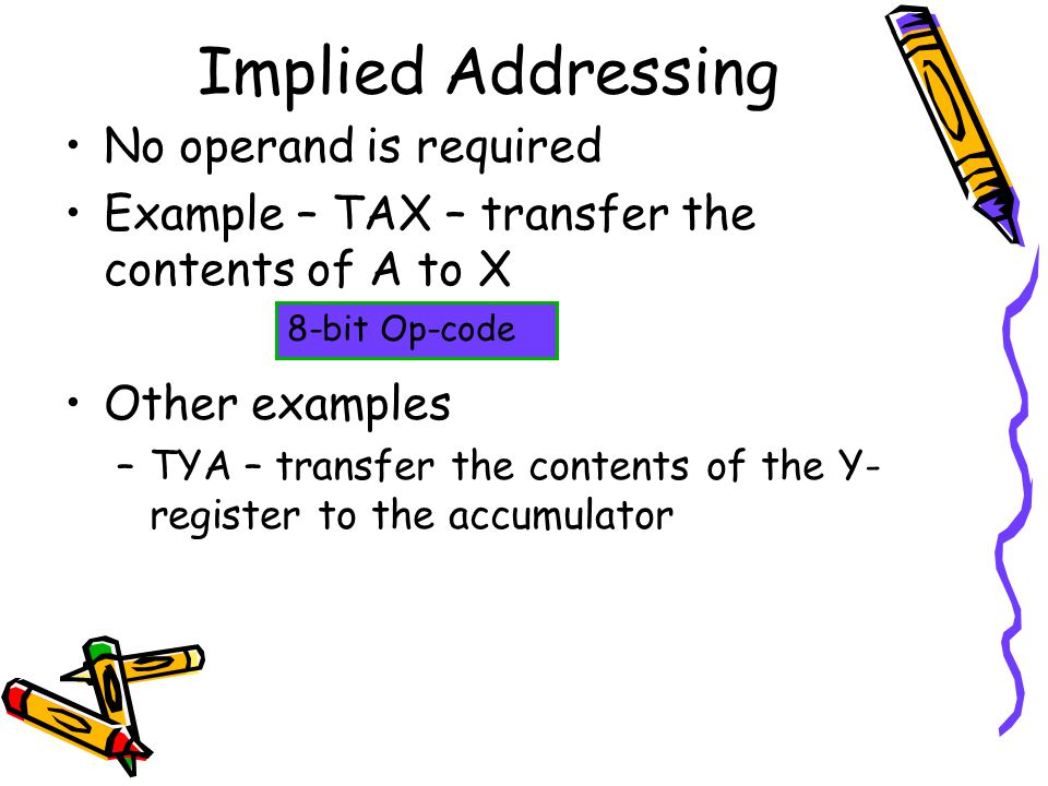 Implied Addressing No operand is required