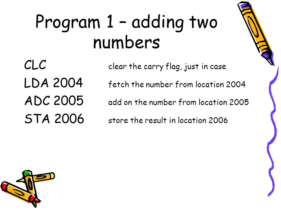 Program 1 – adding two numbers