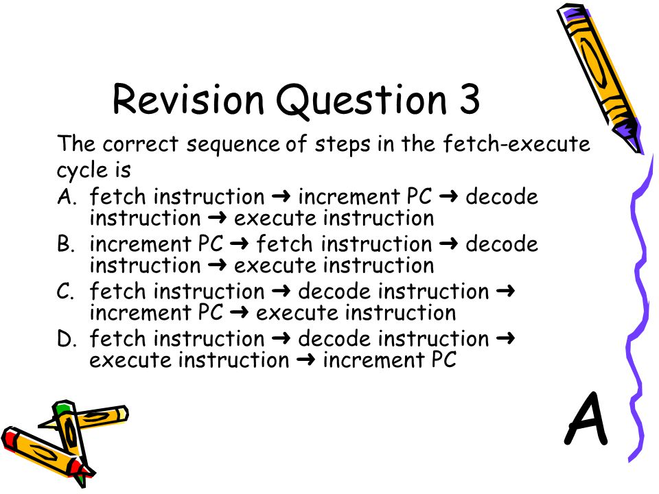 Revision Question 3 The correct sequence of steps in the fetch-execute. cycle is.