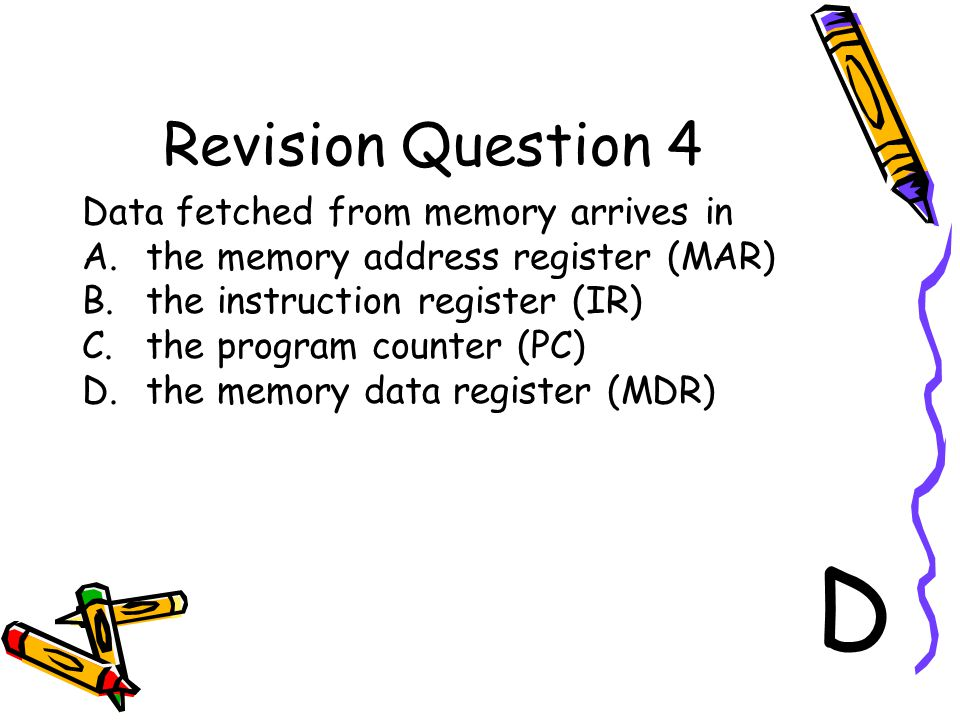 D Revision Question 4 Data fetched from memory arrives in