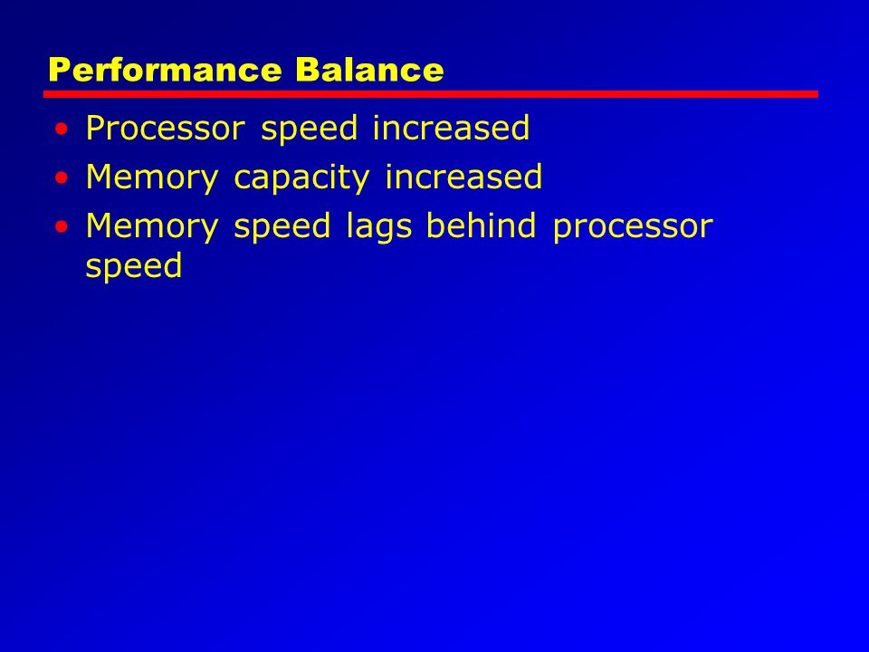 Performance Balance Processor speed increased. Memory capacity increased.