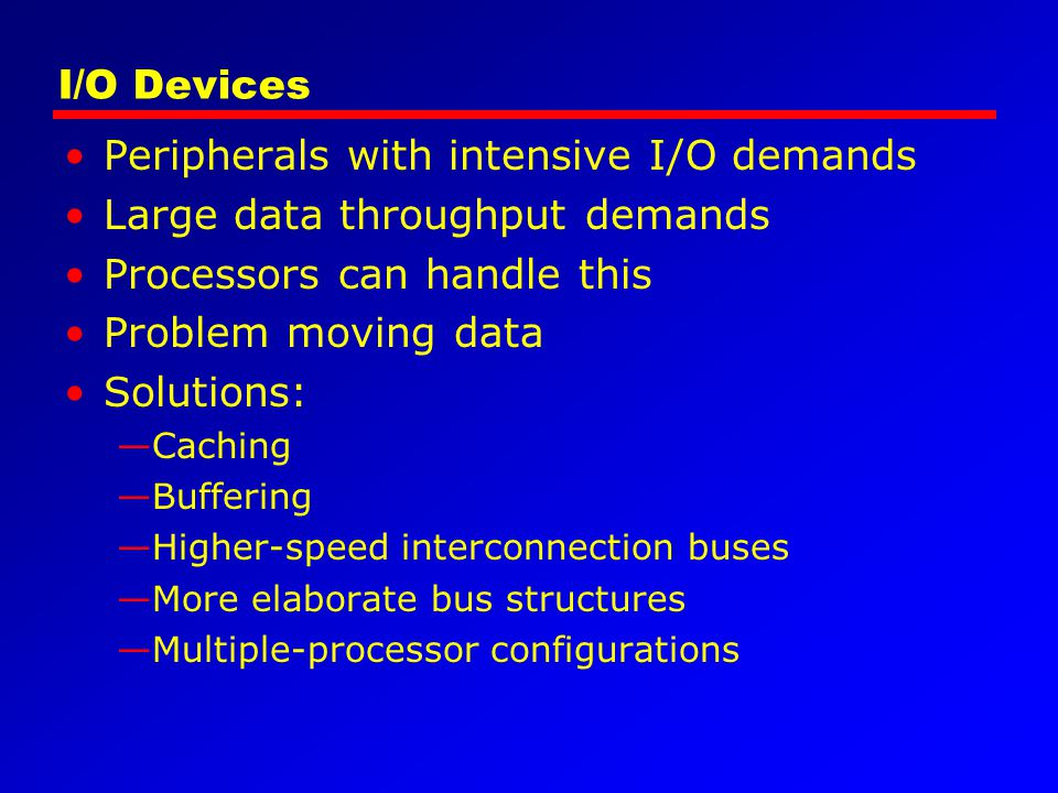 Peripherals with intensive I/O demands Large data throughput demands