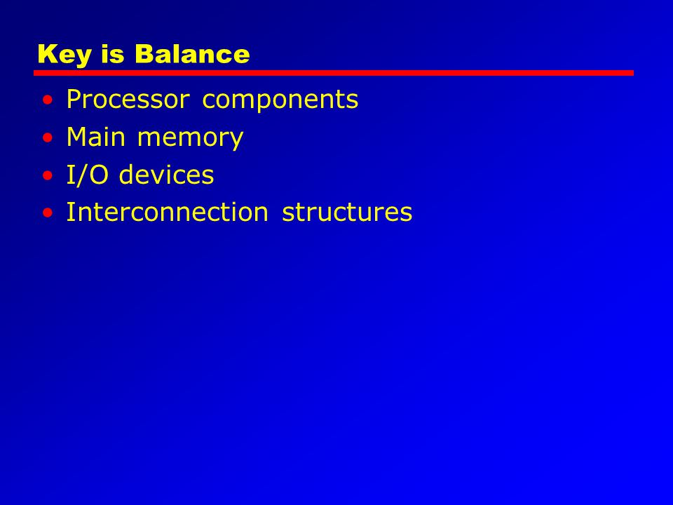 Key is Balance Processor components Main memory I/O devices Interconnection structures