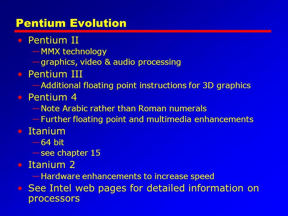 Pentium Evolution Pentium II Pentium III Pentium 4 Itanium Itanium 2