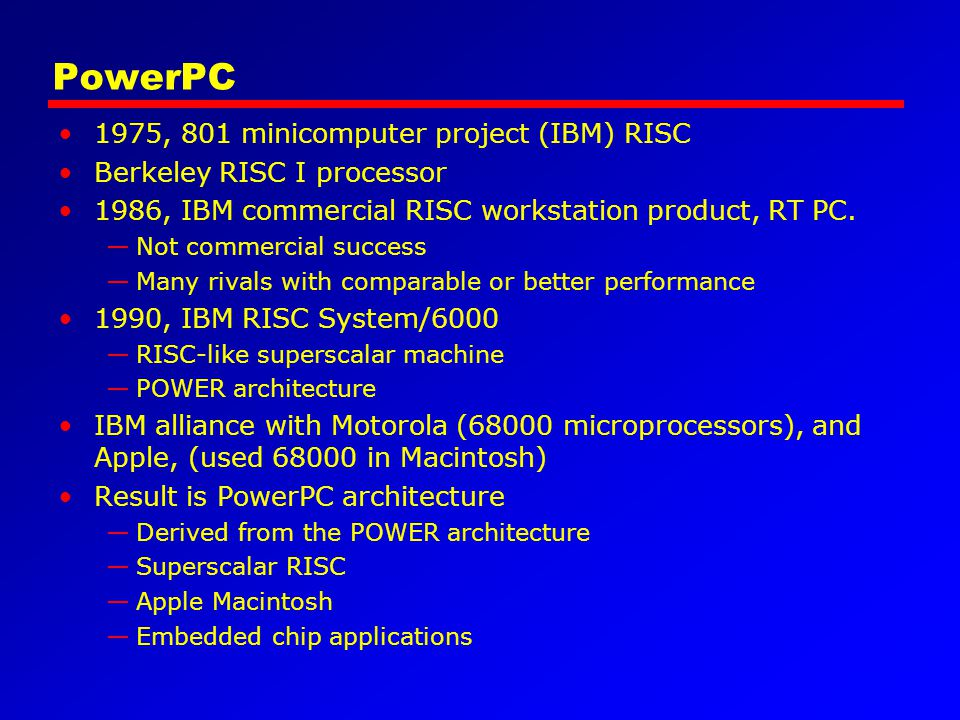 PowerPC 1975, 801 minicomputer project (IBM) RISC