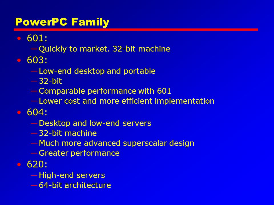 PowerPC Family 601: 603: 604: 620: Quickly to market. 32-bit machine