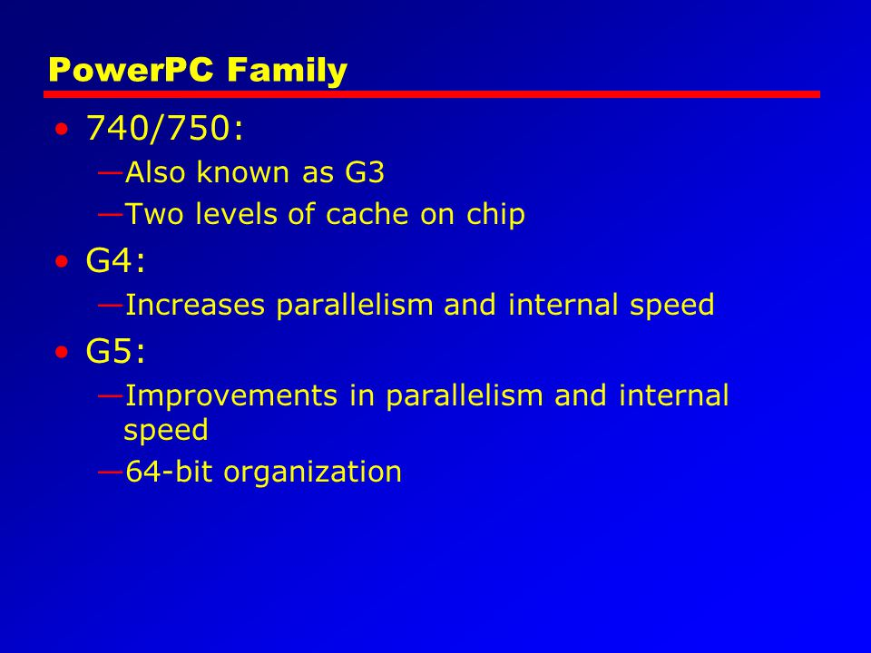 PowerPC Family 740/750: G4: G5: Also known as G3